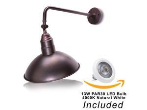 """14"""" Adjustable Barn Shade With 19 3/4"""" Curved Arm And 13W LED PAR30 4000K (Natural White) Bulb"""