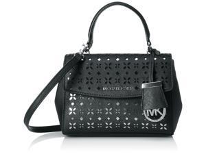 MICHAEL Michael Kors Ava Xs Crossbody Flora Perf Saffiano Leather Shiny Rhodium, Color Black/Nickel
