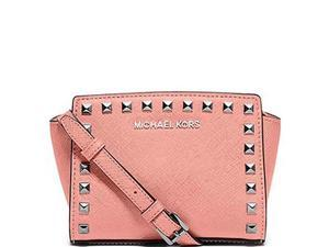 MICHAEL Michael Kors Selma Stud Mini Messenger Saffiano Leather Shiny Rhodium, Color Pale Pink