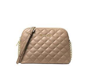 MICHAEL Michael Kors Cindy Large Dome Crossbody Quilted Costa Lamb 18K, Color Bisque