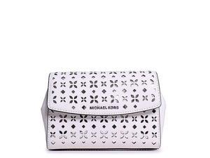 MICHAEL Michael Kors Ava Medium Wristlet Flora Perf Saffiano Leather Shiny Rhodium, Color White/Silver