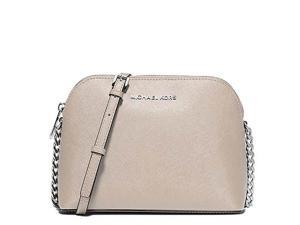 MICHAEL Michael Kors Cindy Large Dome Crossbody Saffiano Leather Shiny Rhodium, Color Cement