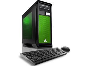 CybertronPC Gaming Desktop Computer Rhodium (Black/Green) AMD FX-8300 3.30GHz (8 Cores) 16GB DDR3 120GB SSD 1TB HDD AMD Radeon RX 470 4GB GDDR5 DVD-RW Drive MS Windows 10 Home 64-Bit