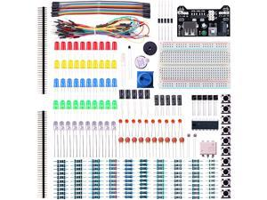 For Arduino,Elegoo EL-CK-002 Electronic Fun Kit Bundle with Breadboard Cable Resistor, Capacitor, LED, Potentiometer (235 Items)
