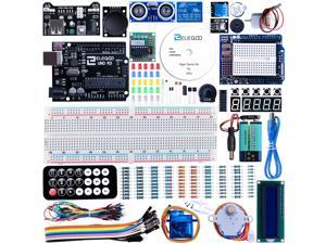 Elegoo UNO Project Super Starter Kit with Tutorial for Arduino,5V Relay, UNO R3, Power Supply Module, Servo Motor, 9V Battery with DC, Prototype Expansion Board, ect.