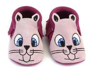 ANIMAL EMBROIDERED FACE MOCCASIN - FUSCHIA AND PINK - SIZE 1