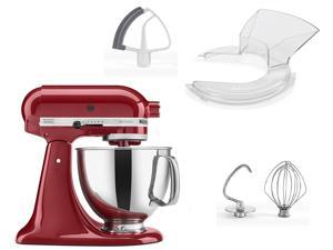 KitchenAid 4.5 quart Stand Mixer with Flex-Edge beater, pouring shield and polished bowl with handle - Empire Red