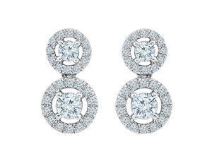 TOGETHER US DIAMOND COLLECTION 10 KT White Gold Two Stone White Round Diamond Fashion Earring (1.00 Cttw)
