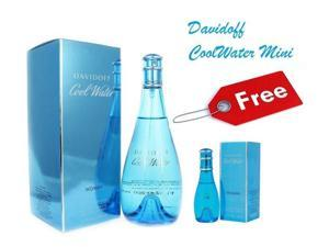 Cool Water Davidoff EDT 6.7 oz With FREE 1.0 oz Mini Bottle For Women New In Box