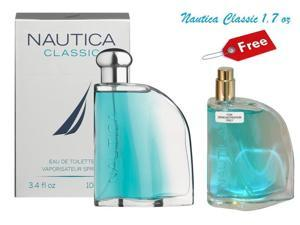 NAUTICA CLASSIC Cologne 3.4 oz With FREE 1.7 oz Sampler *Super Fast Shipping*