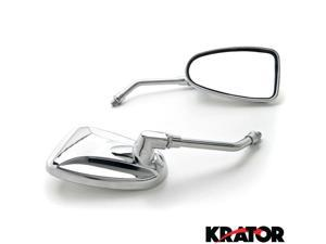 Krator® Custom Rear View Mirrors Chrome Pair w/Adapters For Vespa GTS GTV 250 300