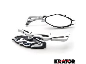 Krator® Flame Rear View Mirrors Chrome Pair w/Adapters For Vespa GTS GTV 250 300