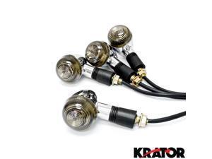 Krator® Motorcycle 4 pcs Smoke Bullet Turn Signals Lights For Vespa GTS GTV 250 300