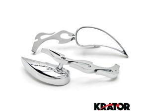 Krator® Tear Drop Custom Chrome Motorcycle Rear Mirrors For Vespa GTS GTV 250 300