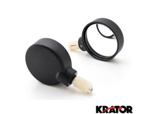"Krator® Black Bar End Mirrors Round Convex Mirror 7/8"" For Vespa GTS GTV 250 300"