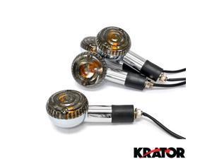 Krator® Motorcycle 4 pcs Smoke Round Turn Signals Lights For Vespa GTS GTV 250 300