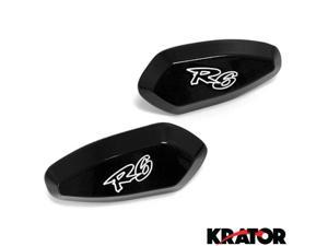 Krator® Mirror Block Off Base Plates Logo Engraved Black For 2006 Yamaha R6 / YZF-R6