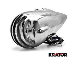"Krator® 4 3/4"" Chrome Round Motorcycle Headlight Light For Vespa GTS GTV 250 300"