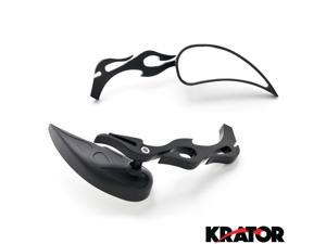 Krator® Tear Drop Custom Black Motorcycle Rear Mirrors For Vespa GTS GTV 250 300