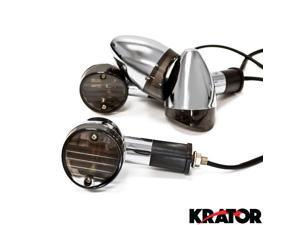 Krator® Motorcycle 4 pcs Smoke Bullet Turn Signals Lights For Vespa GTS GTV 250 300