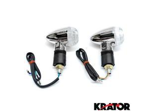 Krator® Motorcycle 2 pcs Clear Bullet Turn Signals Lights For Vespa GTS GTV 250 300