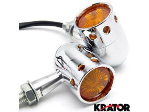 Krator® 2pcs Chrome Motorcycle Turn Signals Blinker Lights For Vespa GTS GTV 250 300