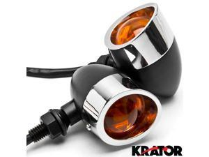 Krator® 2pc Black / Chrome Motorcycle Turn Signals Lights For Vespa GTS GTV 250 300
