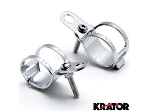 Krator® Chrome Turn Signal Mount Brackets Fork Ear 31-43mm For Vespa GTS GTV 250 300