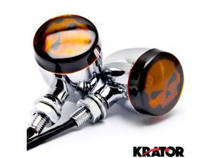 Krator® 2pc Skull Lens Chrome Motorcycle Turn Signals Bulb For Vespa GTS GTV 250 300