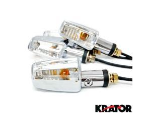 Krator® Motorcycle 4 pcs Clear Spear Turn Signals Lights For Vespa GTS GTV 250 300