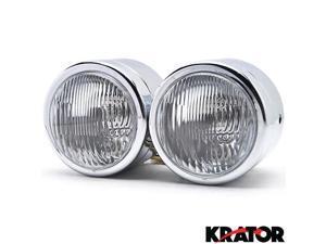 Krator® Chrome Twin Headlight Motorcycle Double Dual Lamp For Vespa GTS GTV 250 300