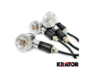 Krator® Motorcycle 4 pcs Clear Bullet Turn Signals Lights For Vespa GTS GTV 250 300