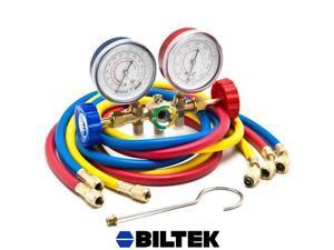 """Biltek® HVAC R12 R22 R502 A/C Diagnostic Manifold Gauge Kit w/ 3 Color 60"""" Charging Hose"""