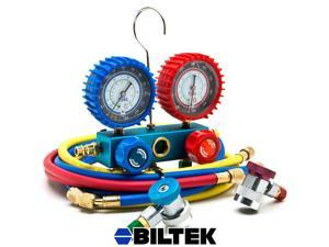 Biltek® NEW Professional A/C Air Conditioner Refrigerant Manifold Gauge Kit Set R134a HVAC