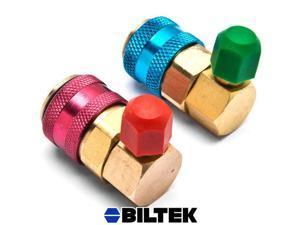 Biltek® R134a A/C Manifold Gauge Conversion Kit High Low Angle Quick Adapter ACME