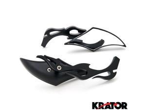 Krator® Diamond Twist Custom Black Motorcycle Mirrors For Vespa GTS GTV 250 300