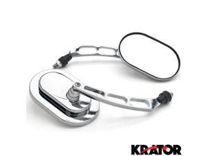 Krator® Custom Rear View Mirrors Chrome Pair w/Adapters For Vespa GTS GTV 250 300