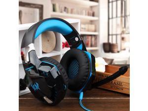 KOTION EACH G2000 Over-ear Game Headset Earphone Headband w/ Mic Stereo Bass LED Light for PC - Blue