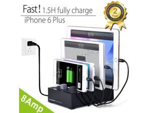 [2016 Version] Avantree Fast Multiple Devices Charging Station | 4 Port 40W 8A Smart Charger + Universal Docking + Cord Organizer | For Smartphones & Tablets [Not with thick Case] | PowerHouse Plus