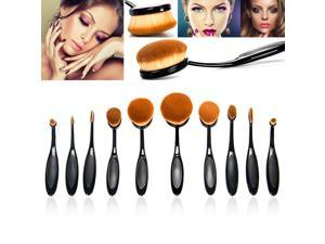 Bestidy Professional 10 Pcs Soft Oval Toothbrush Makeup Brush Sets Foundation Brushes Cream Contour Powder Blush Concealer Brush Makeup Cosmetics Tool Set (Black)