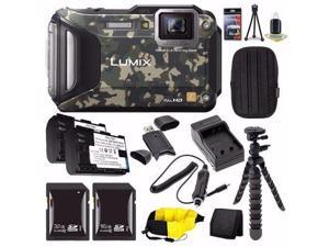 Panasonic Lumix DMC-TS6Z Digital Camera (Camouflage) + DMW-BCM13 Replacement Li-on Battery + External Charger + 16GB SDHC Card + 32GB SDHC Card + Small Case + Card Wallet Saver Bundle