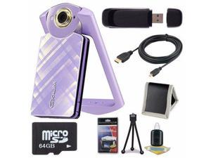Casio EX-TR60 Self Portrait/ Selfie Digital Camera (Light Violet) + 64GB microSD Class 10 Memory Card + Micro HDMI Cable + SDHC Card USB Reader + Memory Card Wallet + Deluxe Starter Kit 6AVE Bundle