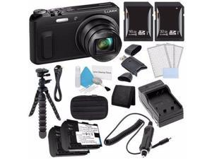 Panasonic Lumix DMC-ZS45 16 MP Wi-Fi Digital Camera (Black) + DMW-BCM13 Battery + External Charger + 16GB SDHC Card Saver Bundle 2 - International Version (No Warranty)