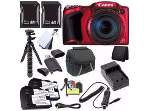 Canon PowerShot SX400 IS Digital Camera (Red) (International Model No Warranty) + NB-11L Battery + External Charger + 16GB SDHC Card + 32GB SDHC Card + Case Saver Bundle
