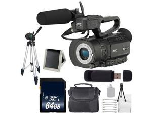 JVC GY-LS300 4KCAM Handheld S35mm Camcorder (Body Only) + 64GB SDXC Class 10 Memory Card + Full Size Tripod + Carrying Case + SD Card USB Reader + Memory Card Wallet + Deluxe Starter Kit 6AVE Bundle