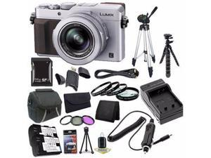Panasonic LUMIX LX100 12.8 MP Digital Camera (Silver) + DMW-BLG10 Battery + External Charger + 64GB SDXC Card + Saver Bundle 3 - International Version (No Warranty)