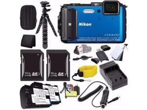 Nikon COOLPIX AW130 Waterproof Digital Camera (Blue) - International Version (No Warranty) + EN-EL12 Battery + External Charger + 16GB SDHC Card + 32GB SDHC Card + Small Case + Saver Bundle