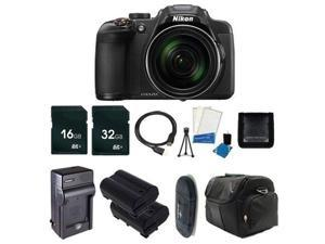 Nikon CoolPix P610 Digital Camera (Black) (International Model No Warranty) + Battery + Charger + 16GB Card + 32GB Card + Case +HDMI Cable + Card Reader + Memory Card Wallet Bundle 2