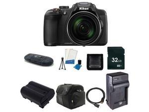 Nikon CoolPix P610 Digital Camera (Black) (International Model No Warranty) + Battery + Charger + 32GB Card + Case +HDMI Cable + Card Reader + Memory Card Wallet Bundle 1