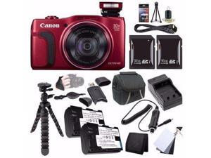 Canon PowerShot SX710 HS Digital Camera (Red) - International Version (No Warranty) + NB-6L Battery + External Charger + 16GB SDHC Card + 32GB SDHC Card + Case + Mini Flexible Tripod Saver Bundle